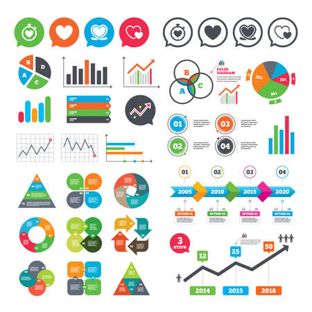 Business charts. Growth graph. Heart ribbon icon. Timer stopwatch symbol. Love and Heartbeat palpitation signs. Market report presentation. Vector