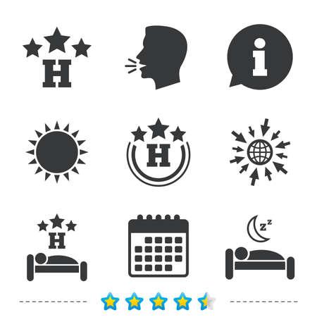 3 つ星ホテルのアイコン。残りの場所シンボルを旅行します。人間の睡眠ベッドの記号で。については、web とカレンダーのアイコンに移動します。  イラスト・ベクター素材