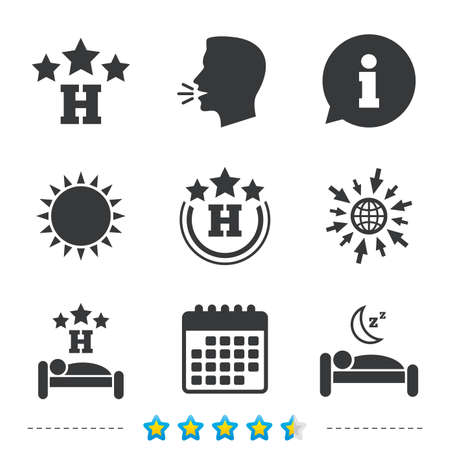 Three stars hotel icons. Travel rest place symbols. Human sleep in bed sign. Information, go to web and calendar icons. Sun and loud speak symbol. Vector