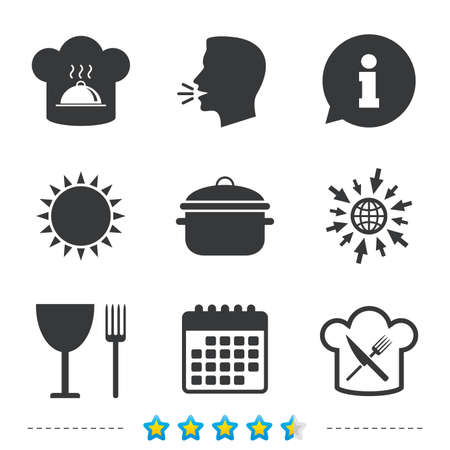 Chief hat and cooking pan icons. Crosswise fork and knife signs. Boil or stew food symbols. Information, go to web and calendar icons. Sun and loud speak symbol. Vector