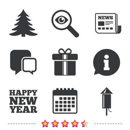 Happy new year icon. Christmas tree and gift box signs. Fireworks rocket symbol. Newspaper, information and calendar icons. Investigate magnifier, chat symbol. Vector