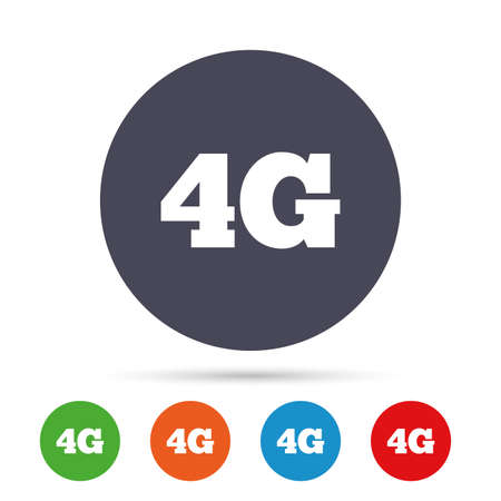 4G sign icon. Mobile telecommunications technology symbol. Round colourful buttons with flat icons. Vector Reklamní fotografie - 78745682
