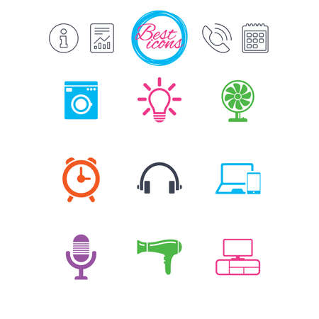 flat screen tv: Information, report and calendar signs. Home appliances, device icons. Ventilator sign. Hairdryer, washing machine and lamp symbols. Classic simple flat web icons. Vector Illustration