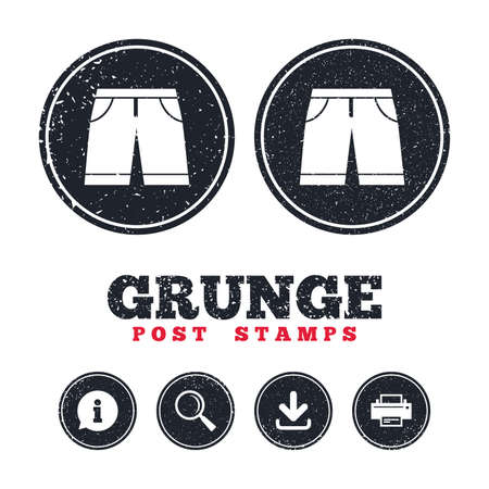 Grunge post stamps. Mens Bermuda shorts sign icon. Clothing symbol. Information, download and printer signs. Aged texture web buttons. Vector