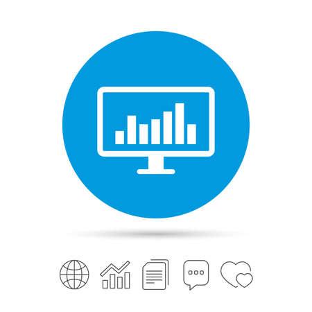 コンピューターのモニターの記号のアイコン。市場を監視します。ファイルのコピー、音声バブルとグラフ web アイコンをチャットします。ベクトル