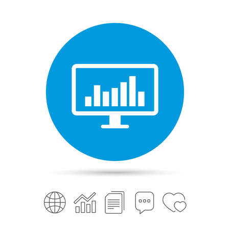 Computer monitor sign icon. Market monitoring. Copy files, chat speech bubble and chart web icons. Vector