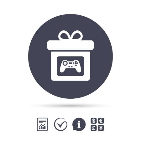 Gift box sign icon. Present with video game joystick symbol. Report document, information and check tick icons. Currency exchange. Vector Illustration