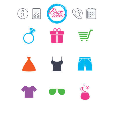 Information, report and calendar signs. Clothes, accessories icons. T-shirt, sunglasses signs. Wedding dress and ring symbols. Classic simple flat web icons. Vector