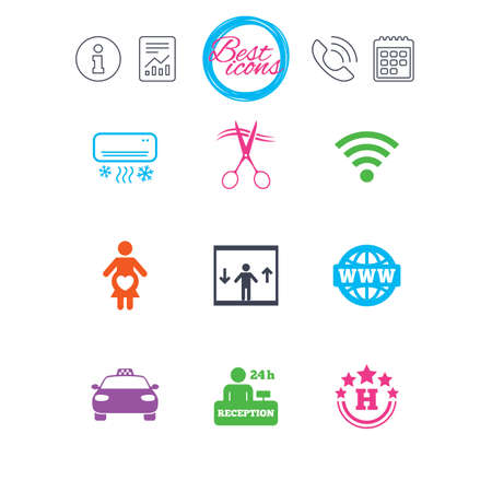 Information, report and calendar signs. Hotel, apartment service icons. Barbershop sign. Pregnant woman, wireless internet and air conditioning symbols. Classic simple flat web icons. Vector Çizim
