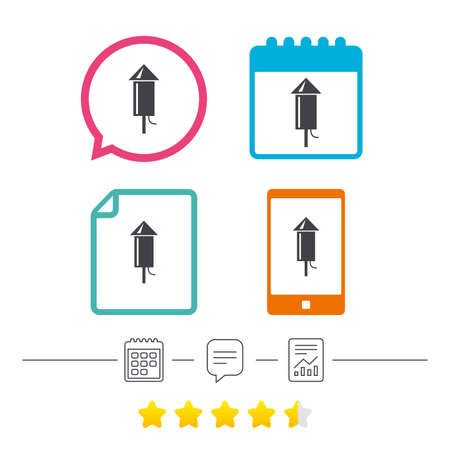 Fireworks rocket sign icon. Explosive pyrotechnic device symbol. Calendar, chat speech bubble and report linear icons. Star vote ranking. Vector