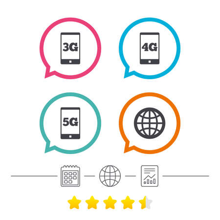 Mobile telecommunications icons. 3G, 4G and 5G technology symbols. World globe sign. Calendar, internet globe and report linear icons. Star vote ranking. Vector Reklamní fotografie - 78745881