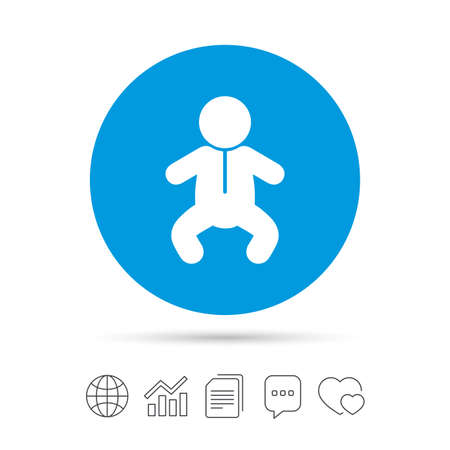 Baby infant sign icon. Toddler boy in pajamas or crawlers body symbol. Child WC toilet. Copy files, chat speech bubble and chart web icons. Vector