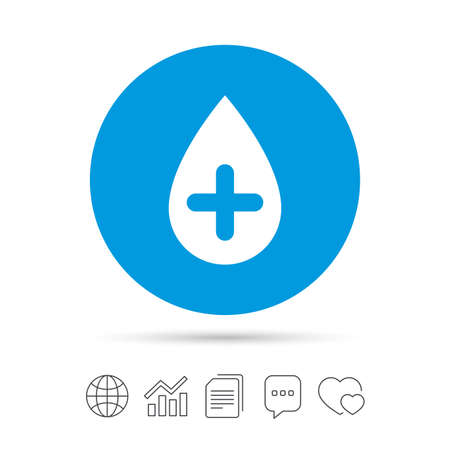 Water drop with plus sign icon. Softens water symbol. Copy files, chat speech bubble and chart web icons. Vector Ilustração