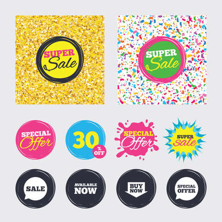 Gold glitter and confetti backgrounds. Covers, posters and flyers design. Sale icons. Special offer speech bubbles symbols. Buy now arrow shopping signs. Available now. Sale banners. Vector Çizim