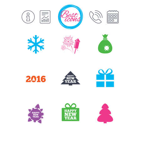 salut: Information, report and calendar signs. Christmas, new year icons. Gift box, fireworks and snowflake signs. Santa bag, salut and rocket symbols. Classic simple flat web icons. Vector
