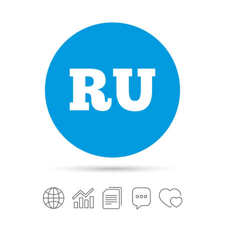 Russian language sign icon. RU Russia translation symbol. Copy files, chat speech bubble and chart web icons. Vector Illustration