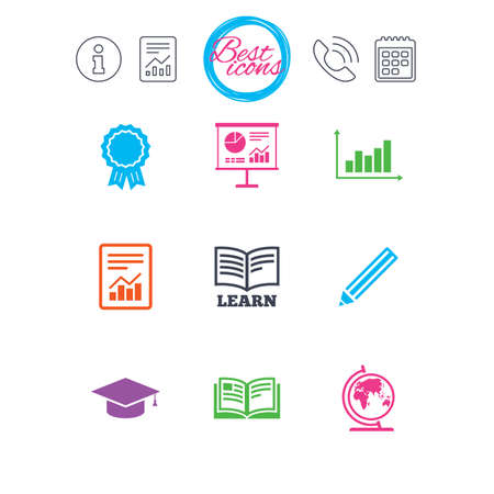 Information, report and calendar signs. Education and study icon. Presentation signs. Report, analysis and award medal symbols. Classic simple flat web icons. Vector Illustration