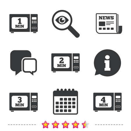 Microwave oven icons. Cook in electric stove symbols. Heat 1, 2, 3 and 4 minutes signs. Newspaper, information and calendar icons. Investigate magnifier, chat symbol. Vector Illustration