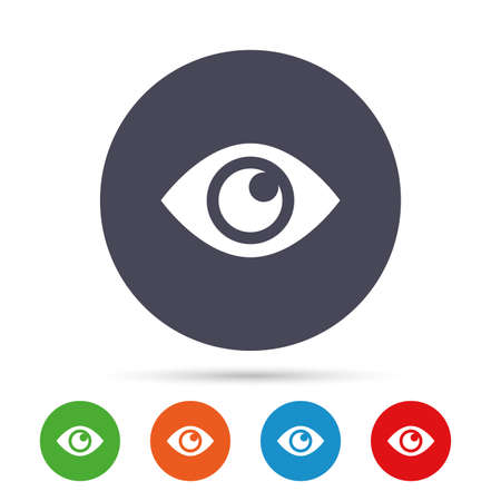 Eye sign icon. Publish content button. Visibility. Round colourful buttons with flat icons. Vector Illustration