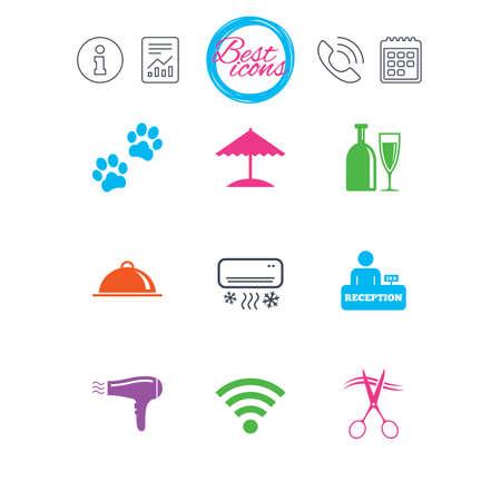 情報、報告書、カレンダーのサイン。ホテル、アパートメント サービス ・ アイコン。Wifi インターネット看板。ペット同伴可, アルコールとエアコ
