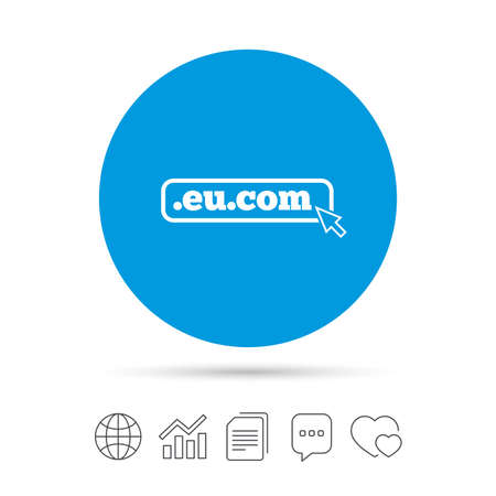 Domain EU.COM sign icon. Internet subdomain symbol with cursor pointer. Copy files, chat speech bubble and chart web icons. Vector