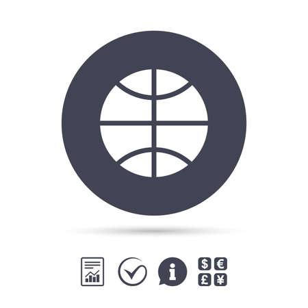バスケット ボールの記号のアイコン。スポーツ シンボル。ドキュメント、情報をレポートし、目盛りのアイコンをチェックします。外貨両替。ベク  イラスト・ベクター素材