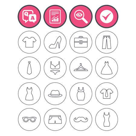 Frage und Antwort, Check-Tick und melden Zeichen. Kleider und Zubehör Symbole. Shirt mit Krawatte, Hosen und Frau Kleid Symbole. Hut, Kleiderbügel und Gläser dünne Umrisse Zeichen. Vektor Standard-Bild - 78746172