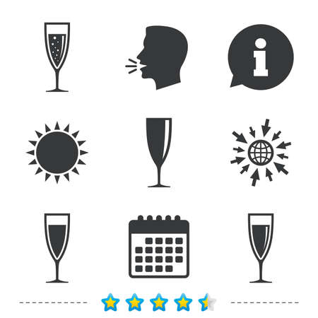 Champagne wine glasses icons. Alcohol drinks sign symbols. Sparkling wine with bubbles. Information, go to web and calendar icons. Sun and loud speak symbol. Vector