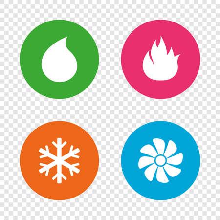 HVAC-pictogrammen. Symbolen voor verwarmen, ventileren en airconditioning. Water voorraad. Klimaattechnologie tekenen. Ronde knoppen op transparante achtergrond. Vector Stock Illustratie