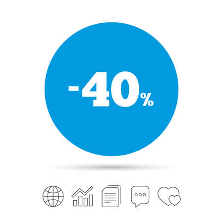 40: 40 percent discount sign icon. Sale symbol. Special offer label. Copy files, chat speech bubble and chart web icons. Vector Illustration