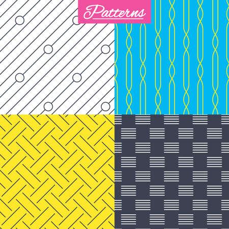 diagonal: Braid weave, diagonal lines and ornament seamless textures. Linear geometric patterns. Modern repeating stylish textures. Abstract patterns with colored background. Vector Illustration