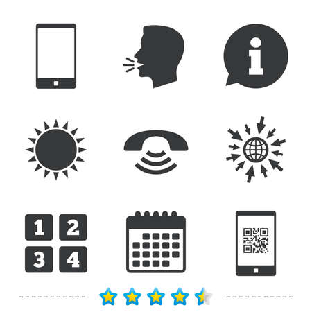 mouth screen: Phone icons. Smartphone with Qr code sign. Call center support symbol. Cellphone keyboard symbol. Information, go to web and calendar icons. Sun and loud speak symbol. Vector Illustration