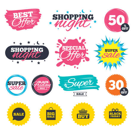 Sale shopping banners. Special offer splash. Sale speech bubble icons. Buy cart symbols. Black friday gift box signs. Big sale shopping bag. Web badges and stickers. Best offer. Vector Ilustração