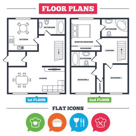 Architecture plan with furniture. House floor plan. Chief hat with heart and cooking pan icons. Crosswise fork and knife signs. Boil or stew food symbol. Kitchen, lounge and bathroom. Vector