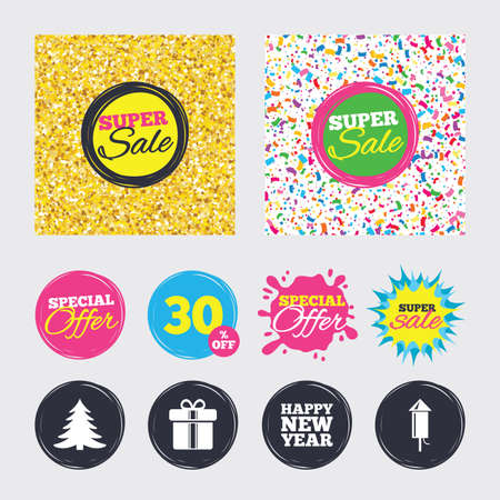 Gold glitter and confetti backgrounds. Covers, posters and flyers design. Happy new year icon. Christmas tree and gift box signs. Fireworks rocket symbol. Sale banners. Special offer splash. Vector