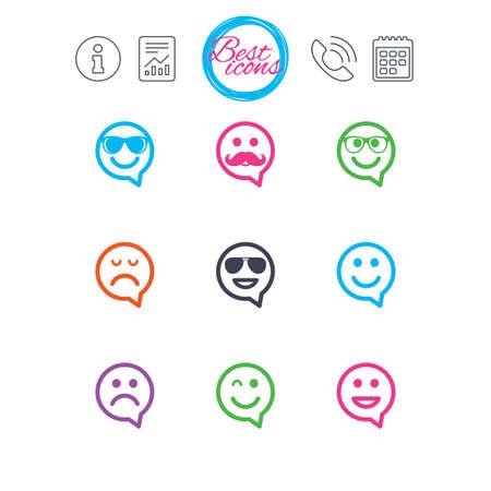 情報、報告書、カレンダーのサイン。笑顔のスピーチの泡アイコン。幸せ、悲しい、ウインク印に直面しています。サングラス、口ひげ、笑絵文字
