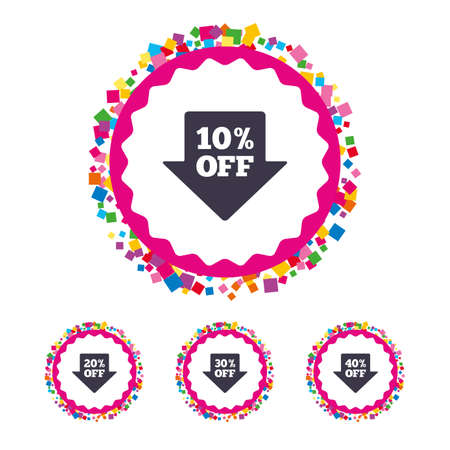 Web buttons with confetti pieces. Sale arrow tag icons. Discount special offer symbols. 10%, 20%, 30% and 40% percent off signs. Bright stylish design. Vector