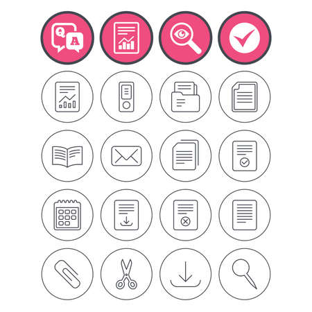 Question and answer, check tick and report signs. Documents linear icons. Accounting, book and calendar symbols. Paper clip, scissors and download arrow thin outline signs. Vector Çizim