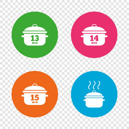 요리 팬 아이콘입니다. 13, 14 및 15 분 표지판을 익히십시오. 스튜 음식 기호. 투명 한 배경에서 라운드 단추입니다. 벡터 일러스트