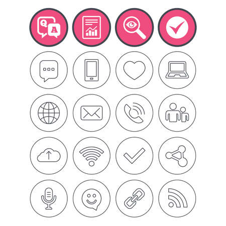 Question and answer, check tick and report signs. Communication icons. Smartphone, laptop and speech bubble symbols. Wi-fi and Rss. Online love dating, mail and globe thin outline signs. Vector