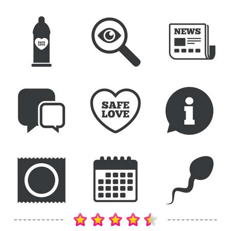 Safe sex love icons. Condom in package symbol. Sperm sign. Fertilization or insemination. Newspaper, information and calendar icons. Investigate magnifier, chat symbol. Vector