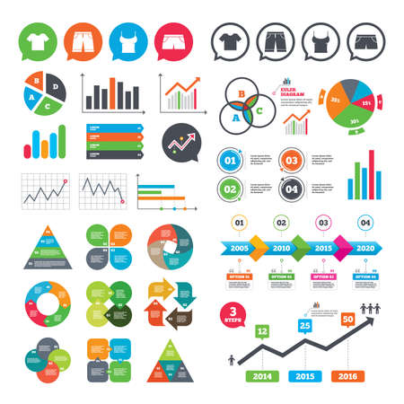 Business charts. Growth graph. Clothes icons. T-shirt and bermuda shorts signs. Swimming trunks symbol. Market report presentation. Vector