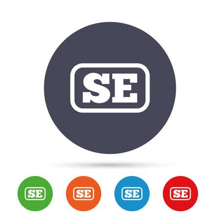 Zweedse taal teken pictogram. SE Zweden vertaalsymbool met frame. Ronde kleurrijke knoppen met plat pictogrammen. Vector