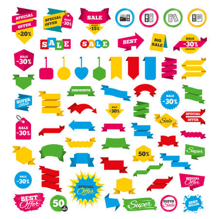 Web banners and labels. Special offer tags. Accounting icons. Document storage in folders sign symbols. Discount stickers. Vector Иллюстрация