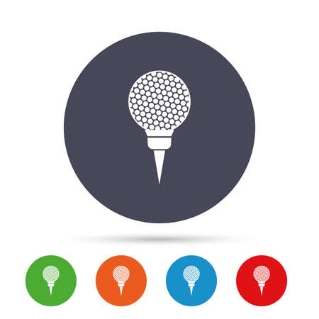 Golf ball on tee sign icon. Sport symbol. Round colourful buttons with flat icons. Vector Illustration