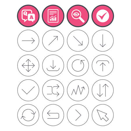 Question and answer, check tick and report signs. Arrows line icons. Download, upload, check or tick symbols. Refresh, fullscreen and shuffle thin outline signs. Q&A and investigate symbol. Vector Stock Vector - 78746540