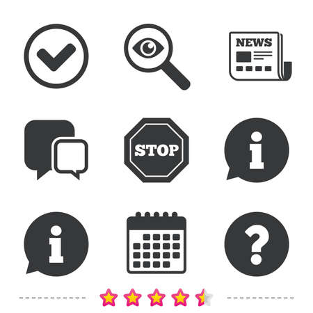 情報アイコン。禁止を停止し、FAQ のマークの標識を質問します。承認のチェック マーク記号。新聞・情報・ カレンダーのアイコン。拡大鏡、チャ