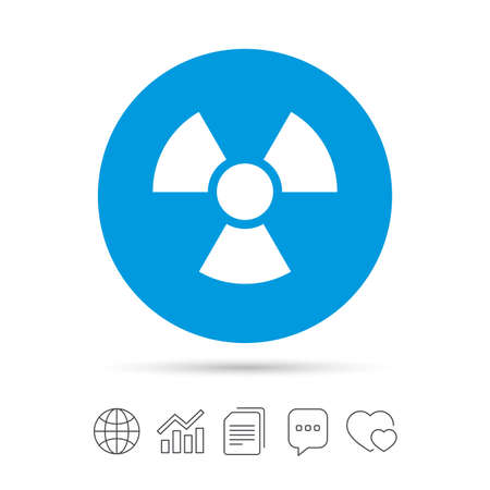 Radiation sign icon. Danger symbol. Copy files, chat speech bubble and chart web icons. Vector
