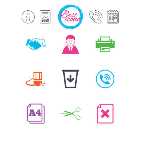 size: Information, report and calendar signs. Office, documents and business icons. Printer, handshake and phone signs. Boss, recycle bin and eraser symbols. Classic simple flat web icons. Vector