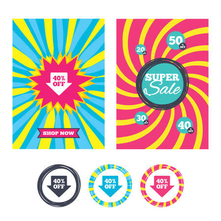 40: Sale banners and labels. Special offer tags. 40% sale arrow tag sign icon. Discount symbol. Special offer label. Colored web buttons. Vector